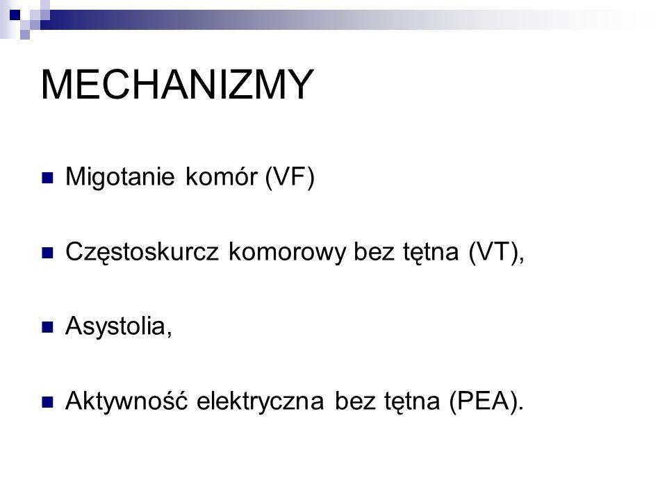 MECHANIZMY Migotanie komór (VF) Częstoskurcz komorowy bez tętna (VT),