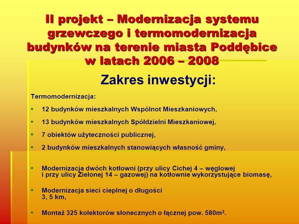II projekt – Modernizacja systemu grzewczego i termomodernizacja budynków na terenie miasta Poddębice w latach 2006 – 2008