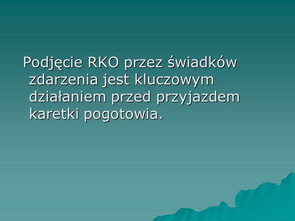 Podjęcie RKO przez świadków zdarzenia jest kluczowym działaniem przed przyjazdem karetki pogotowia.
