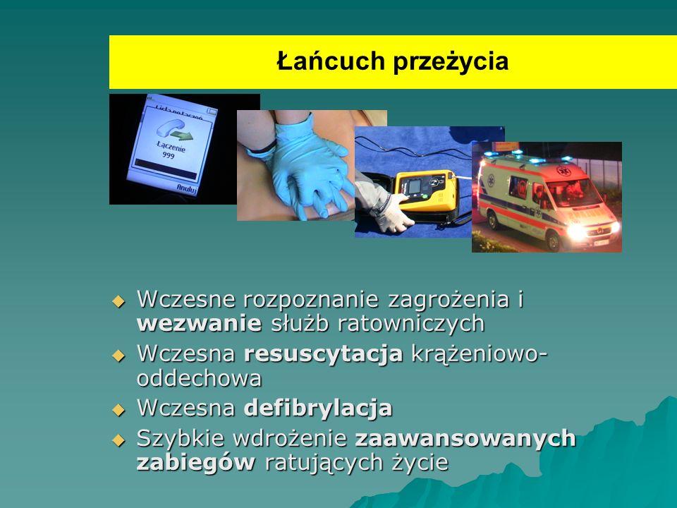 Łańcuch przeżycia Wczesne rozpoznanie zagrożenia i wezwanie służb ratowniczych. Wczesna resuscytacja krążeniowo- oddechowa.
