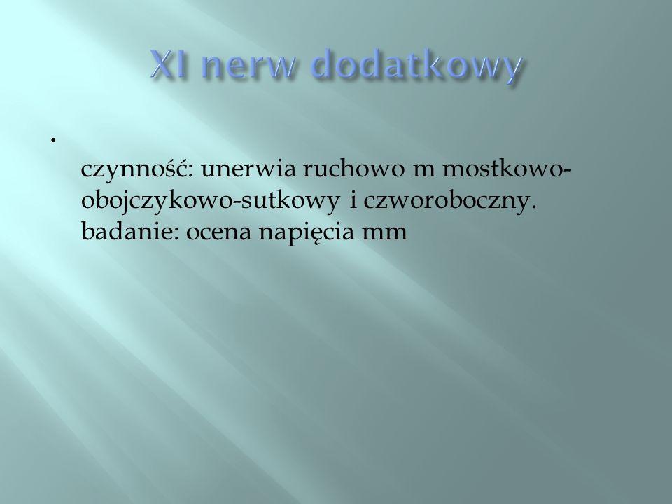XI nerw dodatkowy czynność: unerwia ruchowo m mostkowo-obojczykowo-sutkowy i czworoboczny.