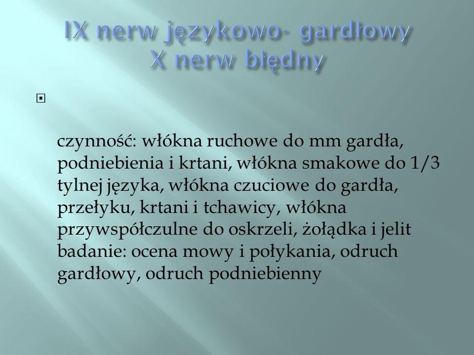 IX nerw językowo- gardłowy X nerw błędny