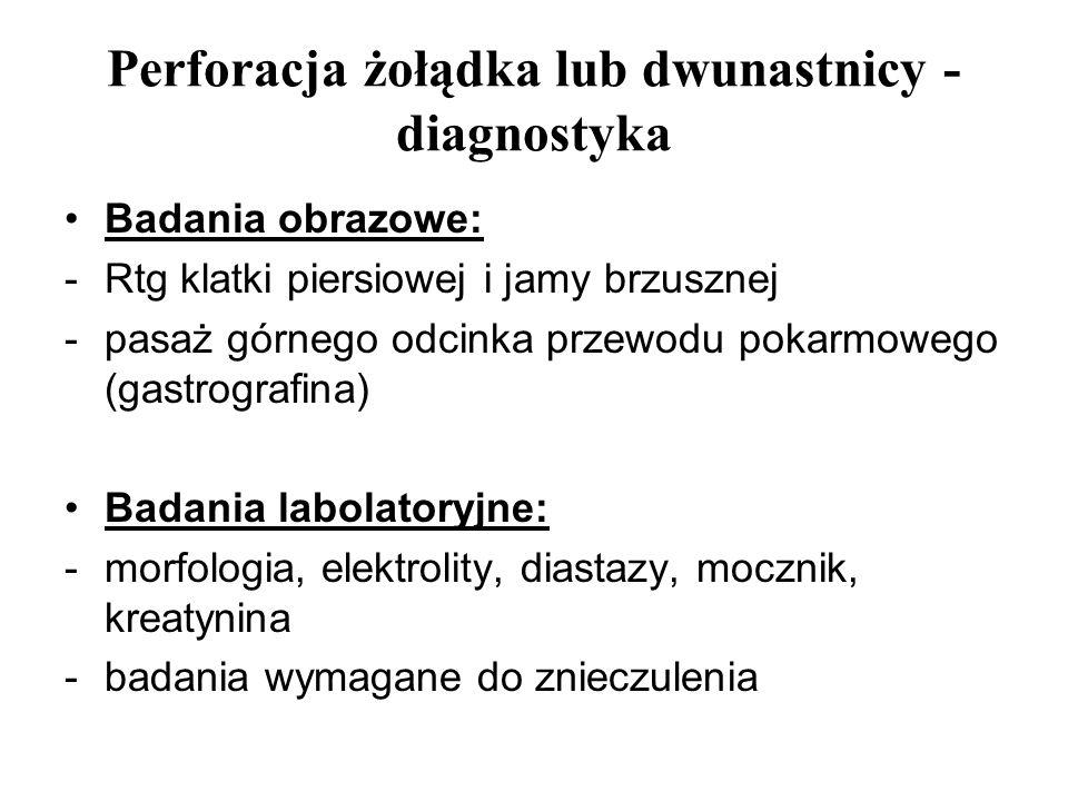 Perforacja żołądka lub dwunastnicy - diagnostyka