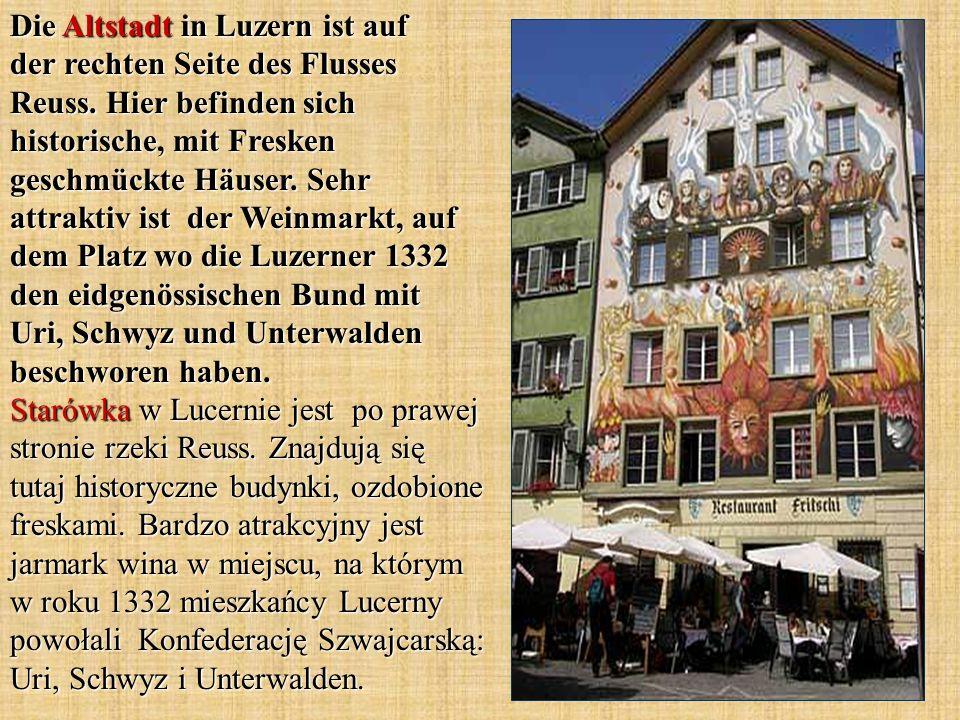 Die Altstadt in Luzern ist auf der rechten Seite des Flusses Reuss