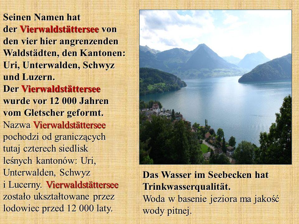 Seinen Namen hat der Vierwaldstättersee von den vier hier angrenzenden Waldstädten, den Kantonen: Uri, Unterwalden, Schwyz und Luzern. Der Vierwaldstättersee wurde vor 12 000 Jahren vom Gletscher geformt. Nazwa Vierwaldstättersee pochodzi od graniczących tutaj czterech siedlisk leśnych kantonów: Uri, Unterwalden, Schwyz i Lucerny. Vierwaldstättersee zostało ukształtowane przez lodowiec przed 12 000 laty.