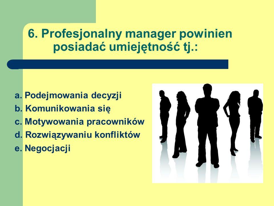 6. Profesjonalny manager powinien posiadać umiejętność tj.: