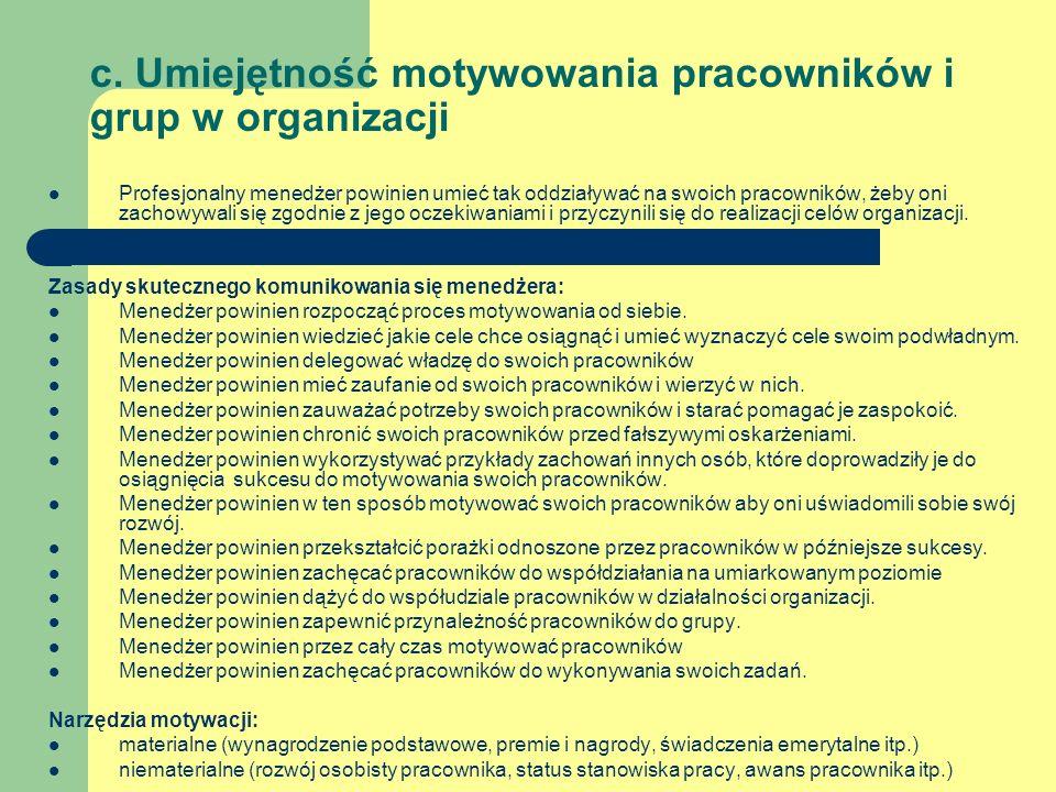 c. Umiejętność motywowania pracowników i grup w organizacji