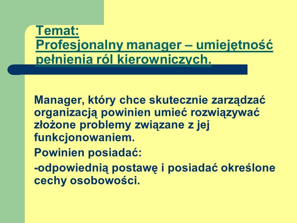 Temat: Profesjonalny manager – umiejętność pełnienia ról kierowniczych.