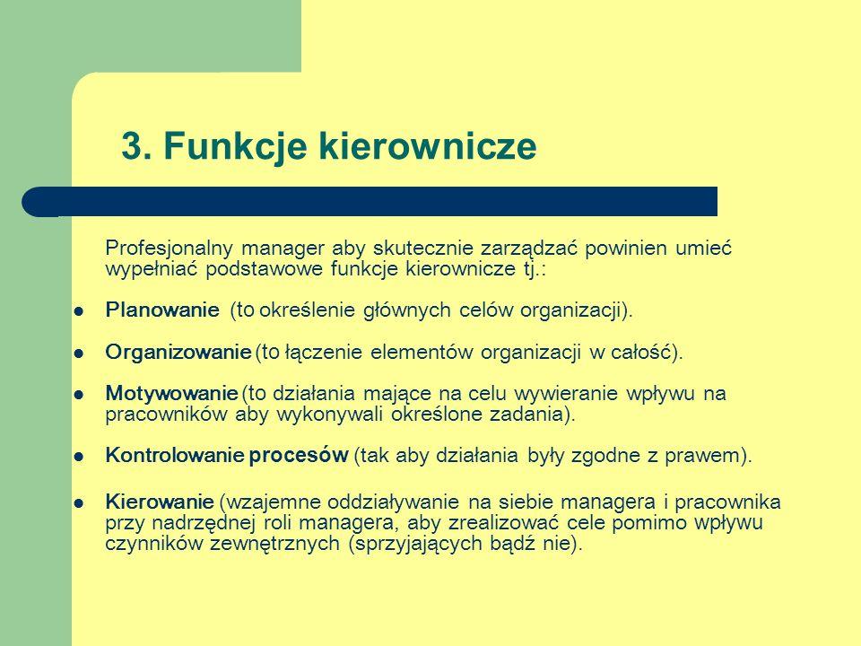 3. Funkcje kierownicze Profesjonalny manager aby skutecznie zarządzać powinien umieć wypełniać podstawowe funkcje kierownicze tj.: