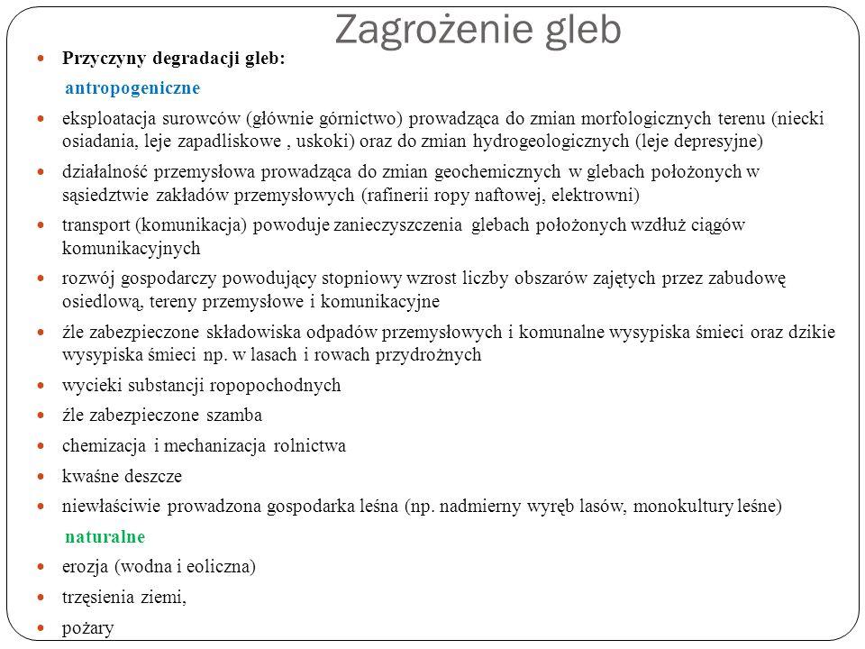 Zagrożenie gleb Przyczyny degradacji gleb: antropogeniczne