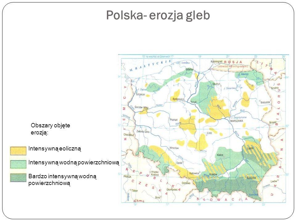 Polska- erozja gleb Obszary objęte erozją: Intensywną eoliczną