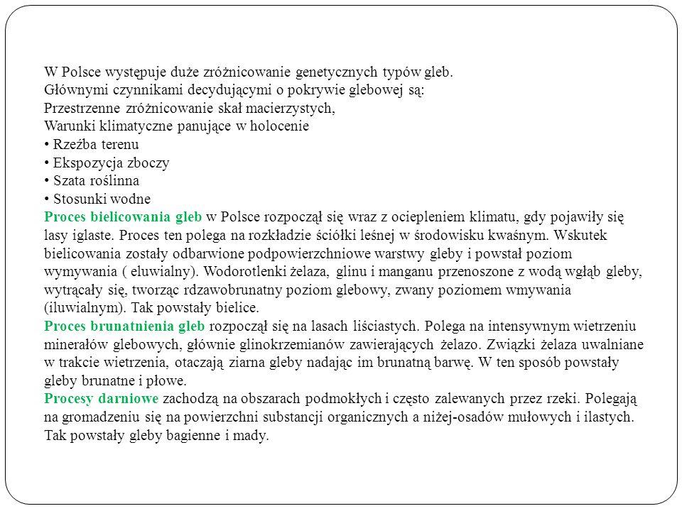 W Polsce występuje duże zróżnicowanie genetycznych typów gleb.