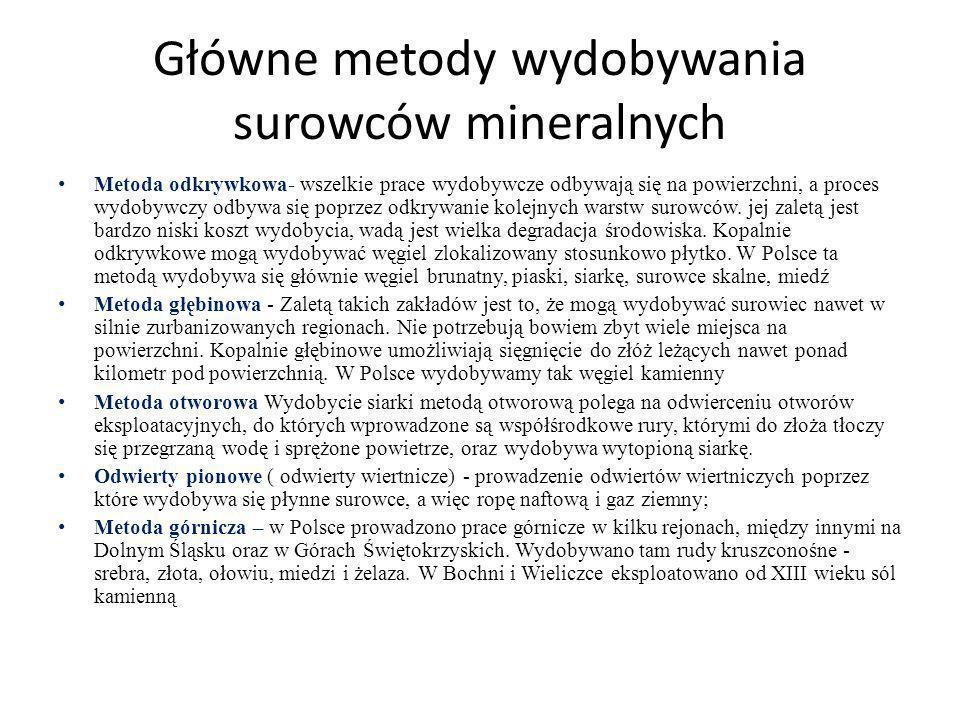 Główne metody wydobywania surowców mineralnych