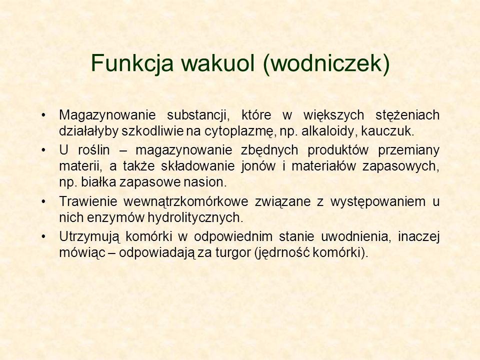 Funkcja wakuol (wodniczek)