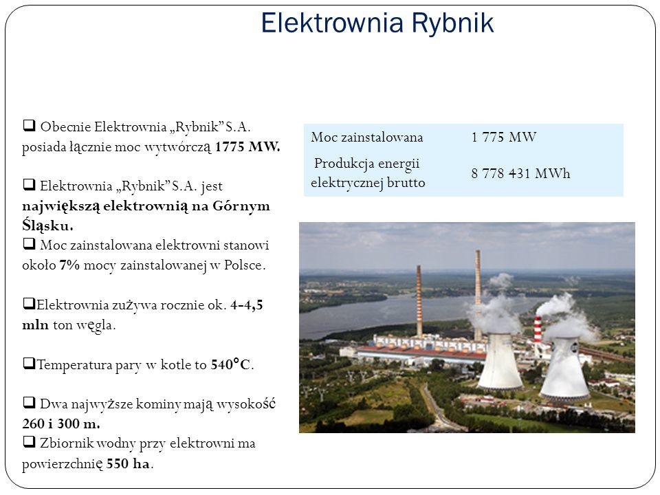 """Elektrownia RybnikObecnie Elektrownia """"Rybnik S.A. posiada łącznie moc wytwórczą 1775 MW."""