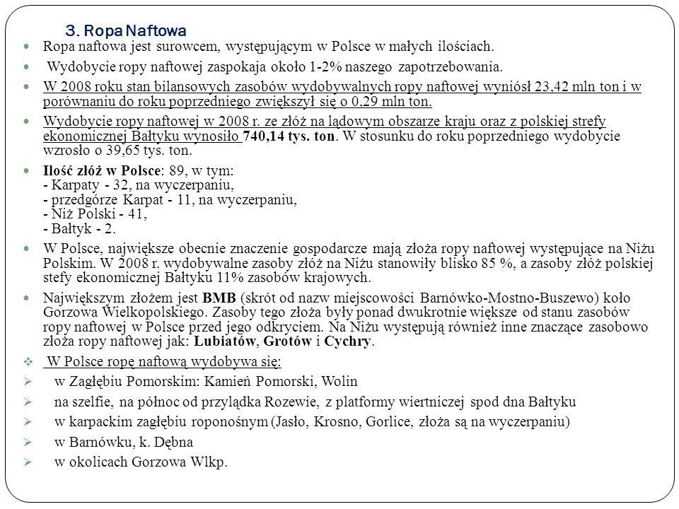 3. Ropa NaftowaRopa naftowa jest surowcem, występującym w Polsce w małych ilościach.