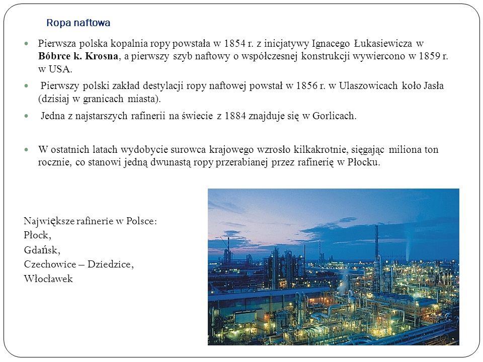Największe rafinerie w Polsce: Płock, Gdańsk, Czechowice – Dziedzice,