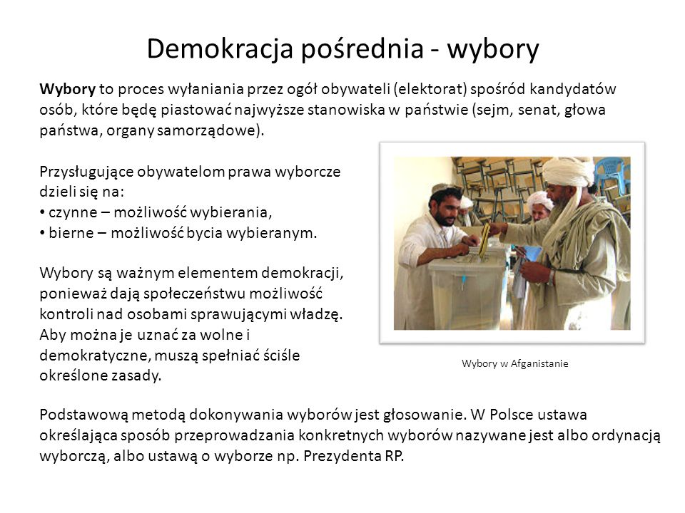 Demokracja pośrednia - wybory