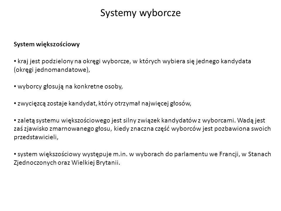 Systemy wyborcze System większościowy