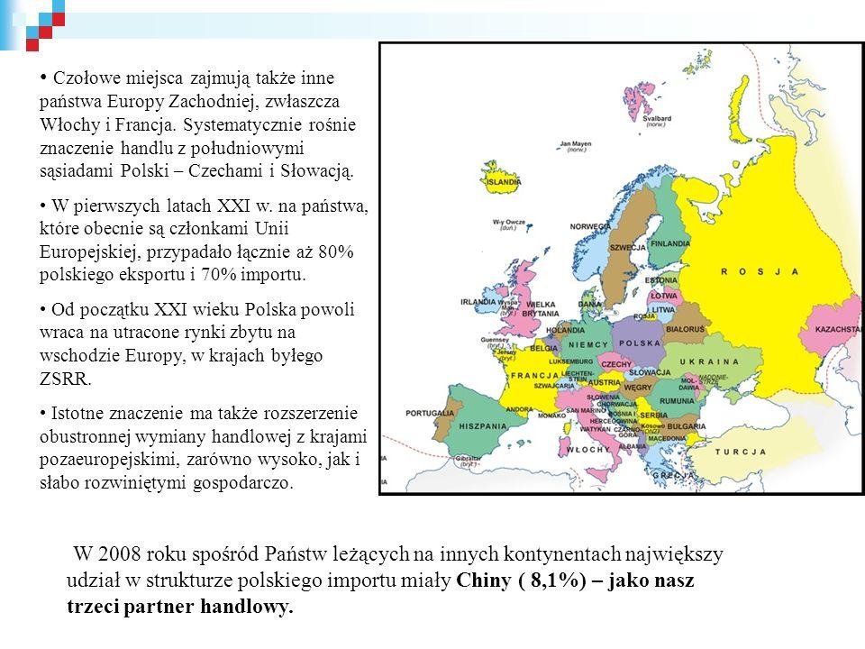 Czołowe miejsca zajmują także inne państwa Europy Zachodniej, zwłaszcza Włochy i Francja. Systematycznie rośnie znaczenie handlu z południowymi sąsiadami Polski – Czechami i Słowacją.