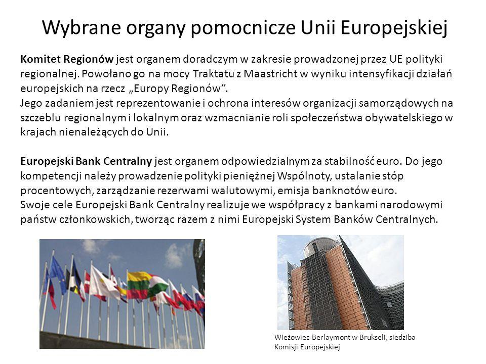 Wybrane organy pomocnicze Unii Europejskiej