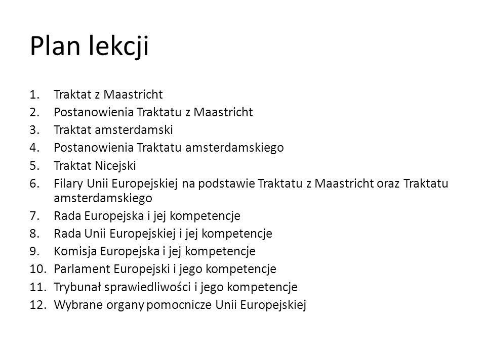Plan lekcji Traktat z Maastricht Postanowienia Traktatu z Maastricht