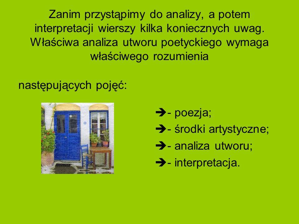 Zanim przystąpimy do analizy, a potem interpretacji wierszy kilka koniecznych uwag. Właściwa analiza utworu poetyckiego wymaga właściwego rozumienia