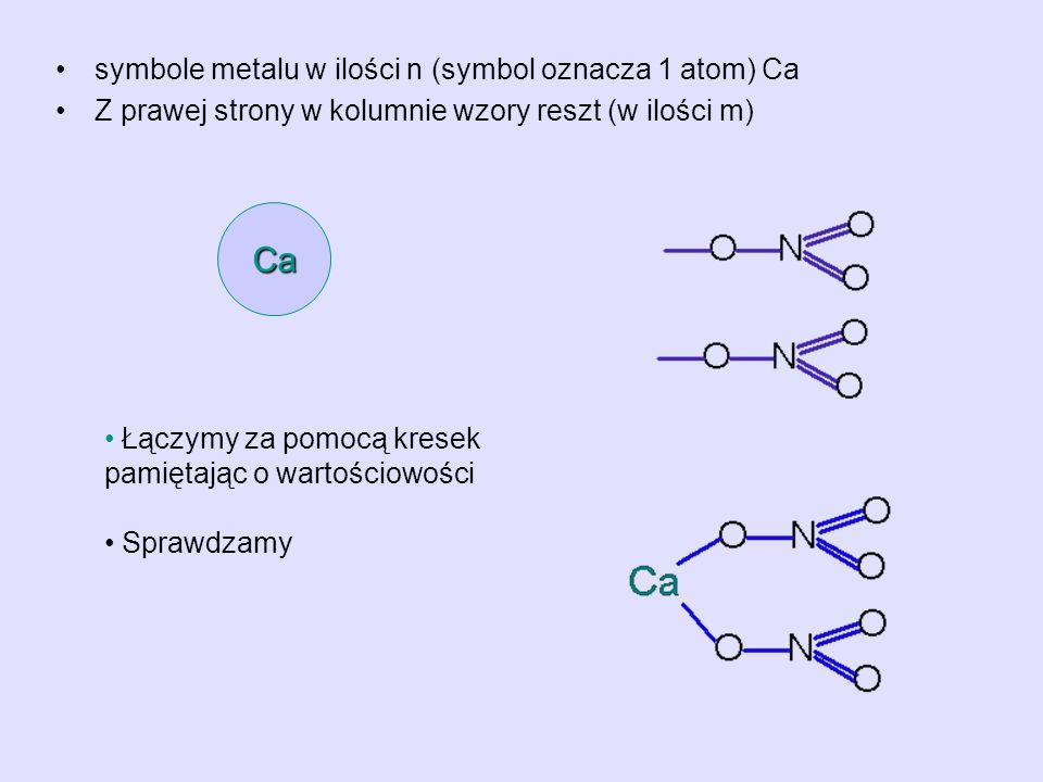 Ca symbole metalu w ilości n (symbol oznacza 1 atom) Ca