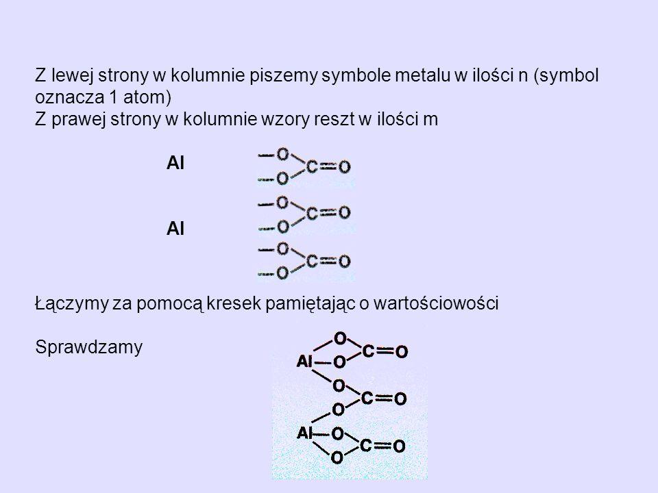 Z lewej strony w kolumnie piszemy symbole metalu w ilości n (symbol oznacza 1 atom)