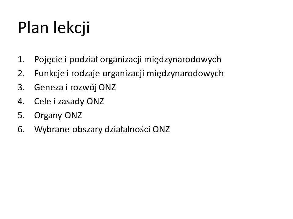 Plan lekcji Pojęcie i podział organizacji międzynarodowych