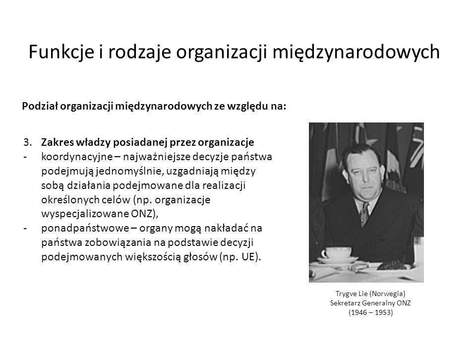 Podział organizacji międzynarodowych ze względu na: