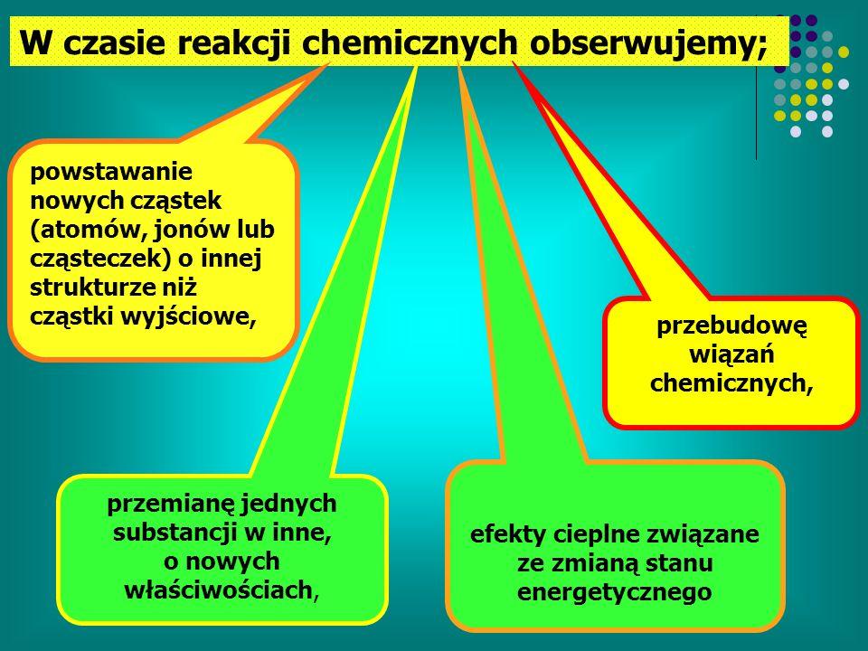 W czasie reakcji chemicznych obserwujemy;