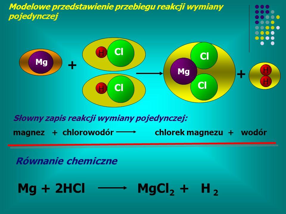 + + Mg + 2HCl MgCl2 + H 2 Cl Cl Cl Cl Równanie chemiczne