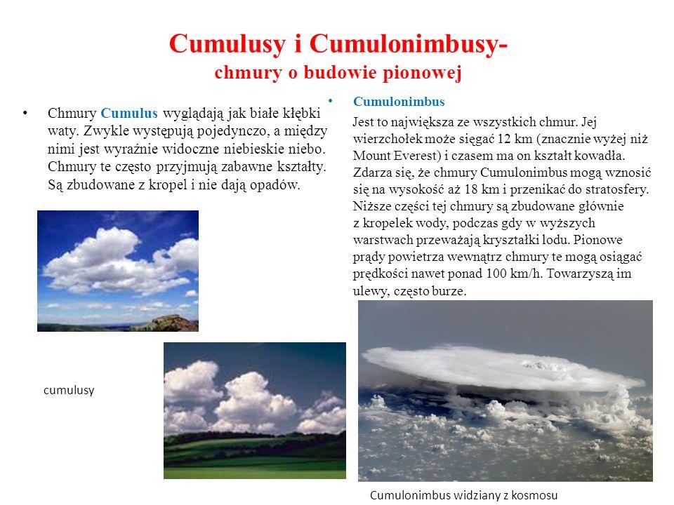 Cumulusy i Cumulonimbusy- chmury o budowie pionowej