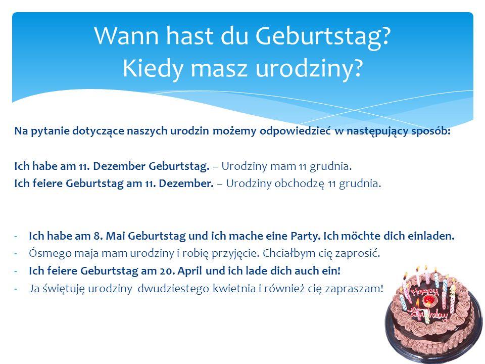 Wann hast du Geburtstag Kiedy masz urodziny