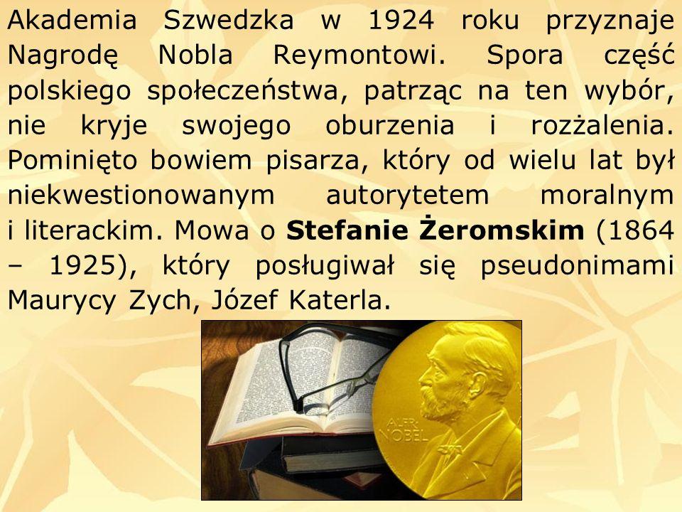 Akademia Szwedzka w 1924 roku przyznaje Nagrodę Nobla Reymontowi