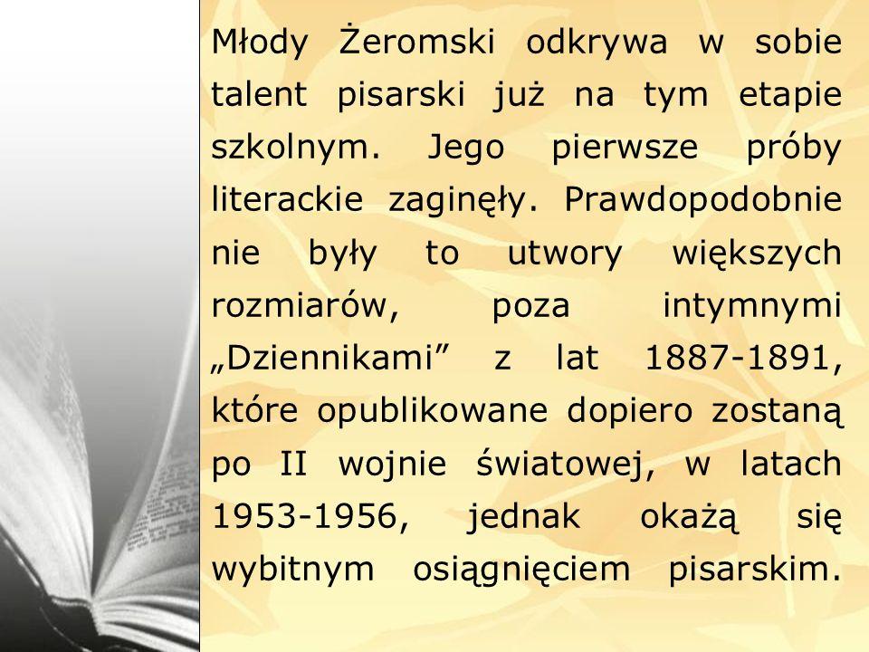 Młody Żeromski odkrywa w sobie talent pisarski już na tym etapie szkolnym.