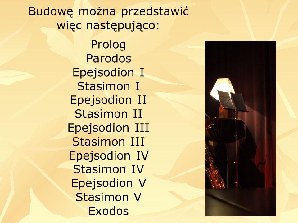Budowę można przedstawić więc następująco: Prolog Parodos Epejsodion I Stasimon I Epejsodion II Stasimon II Epejsodion III Stasimon III Epejsodion IV Stasimon IV Epejsodion V Stasimon V Exodos