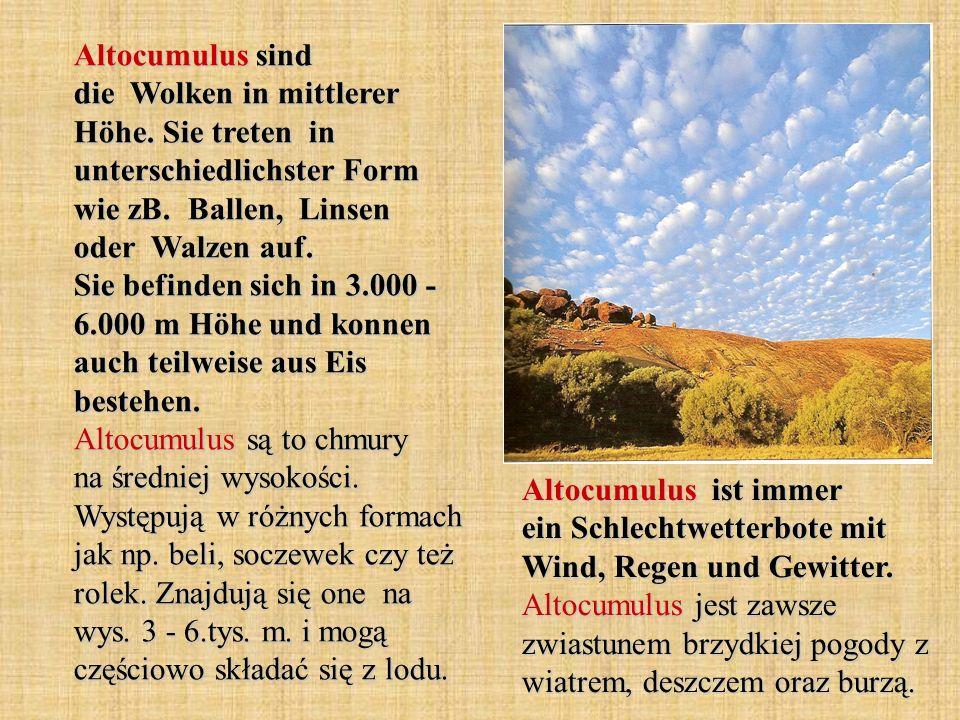 Altocumulus sind die Wolken in mittlerer Höhe