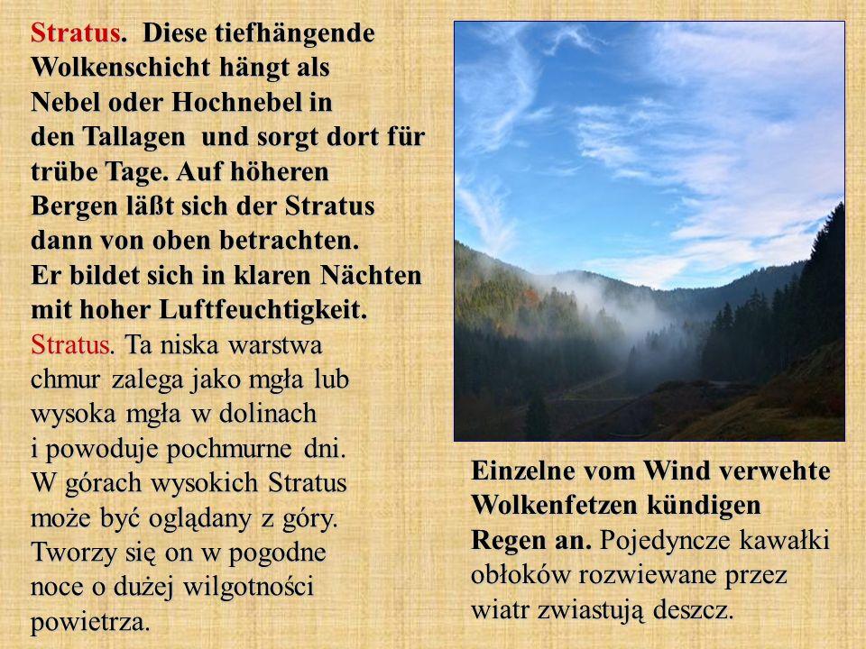 Stratus. Diese tiefhängende Wolkenschicht hängt als Nebel oder Hochnebel in den Tallagen und sorgt dort für trübe Tage. Auf höheren Bergen läßt sich der Stratus dann von oben betrachten. Er bildet sich in klaren Nächten mit hoher Luftfeuchtigkeit. Stratus. Ta niska warstwa chmur zalega jako mgła lub wysoka mgła w dolinach i powoduje pochmurne dni. W górach wysokich Stratus może być oglądany z góry. Tworzy się on w pogodne noce o dużej wilgotności powietrza.