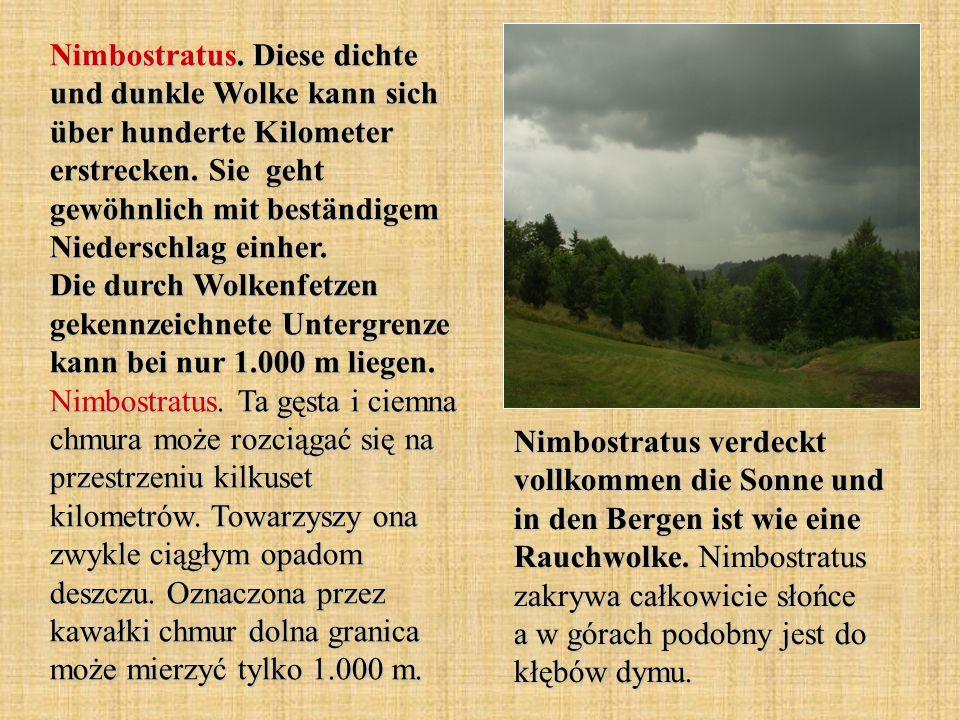 Nimbostratus. Diese dichte und dunkle Wolke kann sich über hunderte Kilometer erstrecken. Sie geht gewöhnlich mit beständigem Niederschlag einher. Die durch Wolkenfetzen gekennzeichnete Untergrenze kann bei nur 1.000 m liegen. Nimbostratus. Ta gęsta i ciemna chmura może rozciągać się na przestrzeniu kilkuset kilometrów. Towarzyszy ona zwykle ciągłym opadom deszczu. Oznaczona przez kawałki chmur dolna granica może mierzyć tylko 1.000 m.