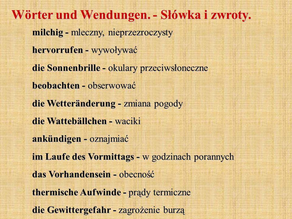 Wörter und Wendungen. - Słówka i zwroty.