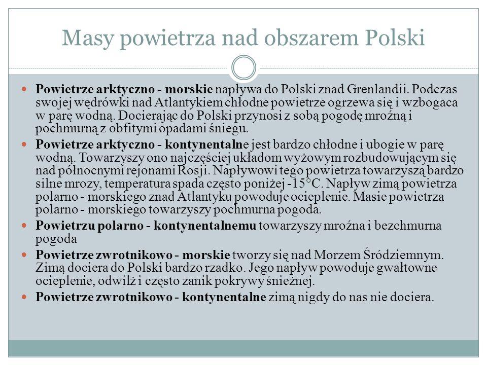 Masy powietrza nad obszarem Polski