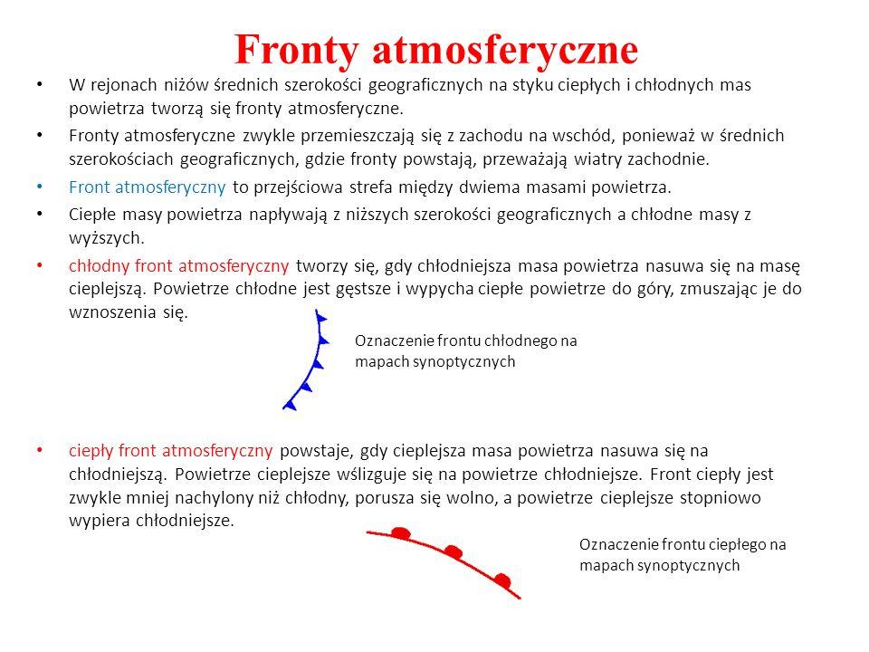Fronty atmosferyczneW rejonach niżów średnich szerokości geograficznych na styku ciepłych i chłodnych mas powietrza tworzą się fronty atmosferyczne.