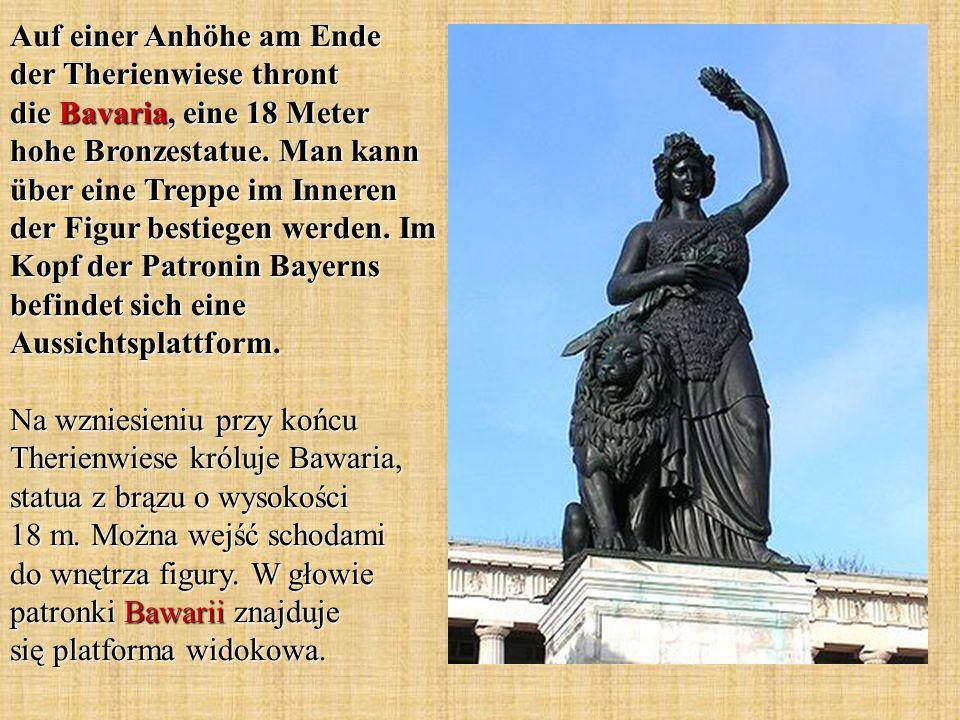 Auf einer Anhöhe am Ende der Therienwiese thront die Bavaria, eine 18 Meter hohe Bronzestatue.