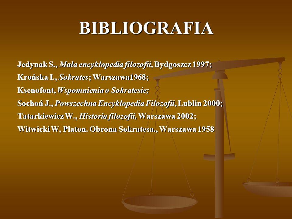 BIBLIOGRAFIA Jedynak S., Mała encyklopedia filozofii, Bydgoszcz 1997;