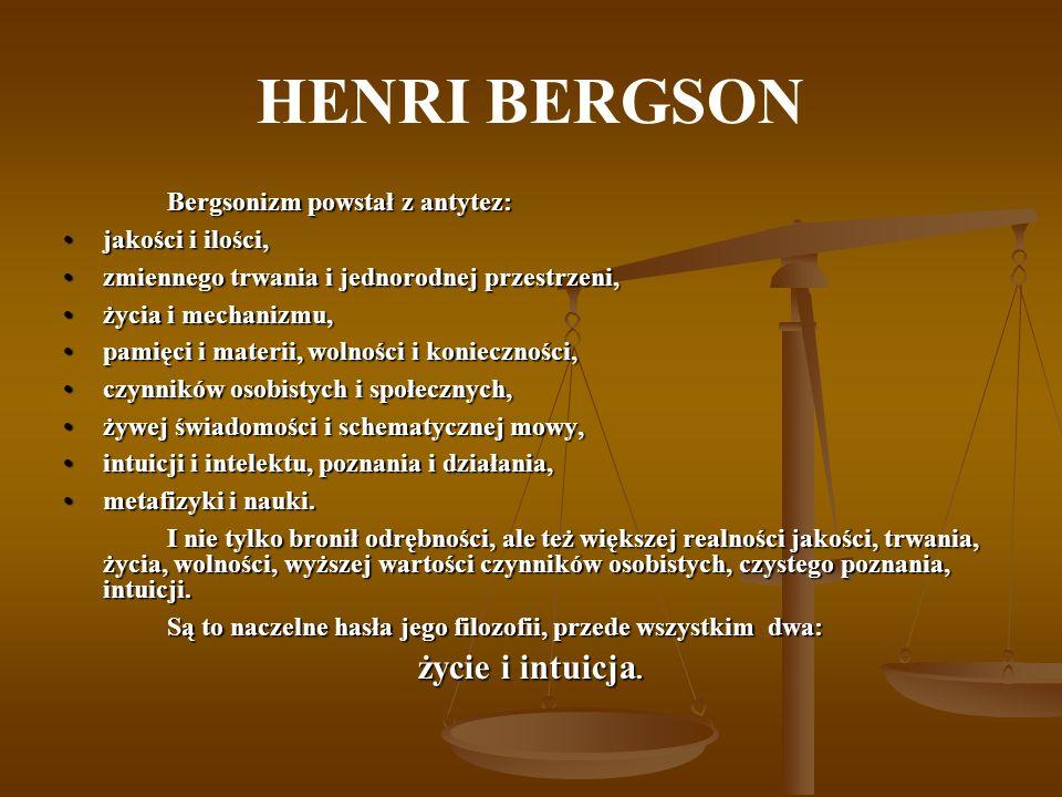 HENRI BERGSON życie i intuicja. Bergsonizm powstał z antytez: