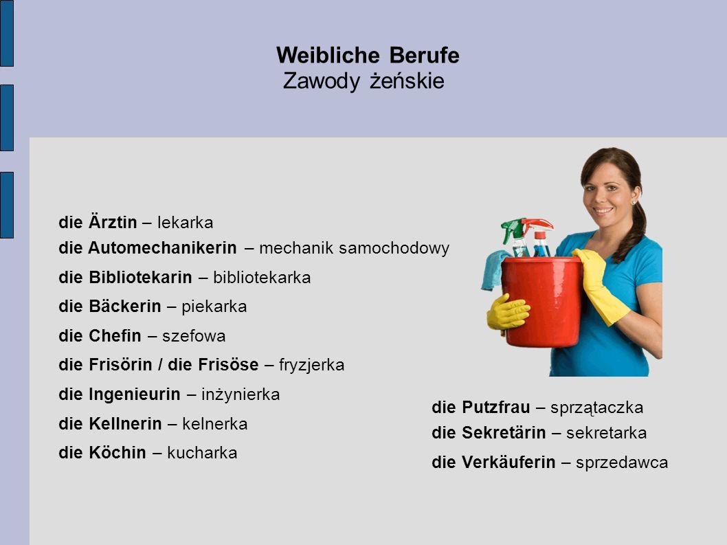 Weibliche Berufe Zawody żeńskie die Ärztin – lekarka
