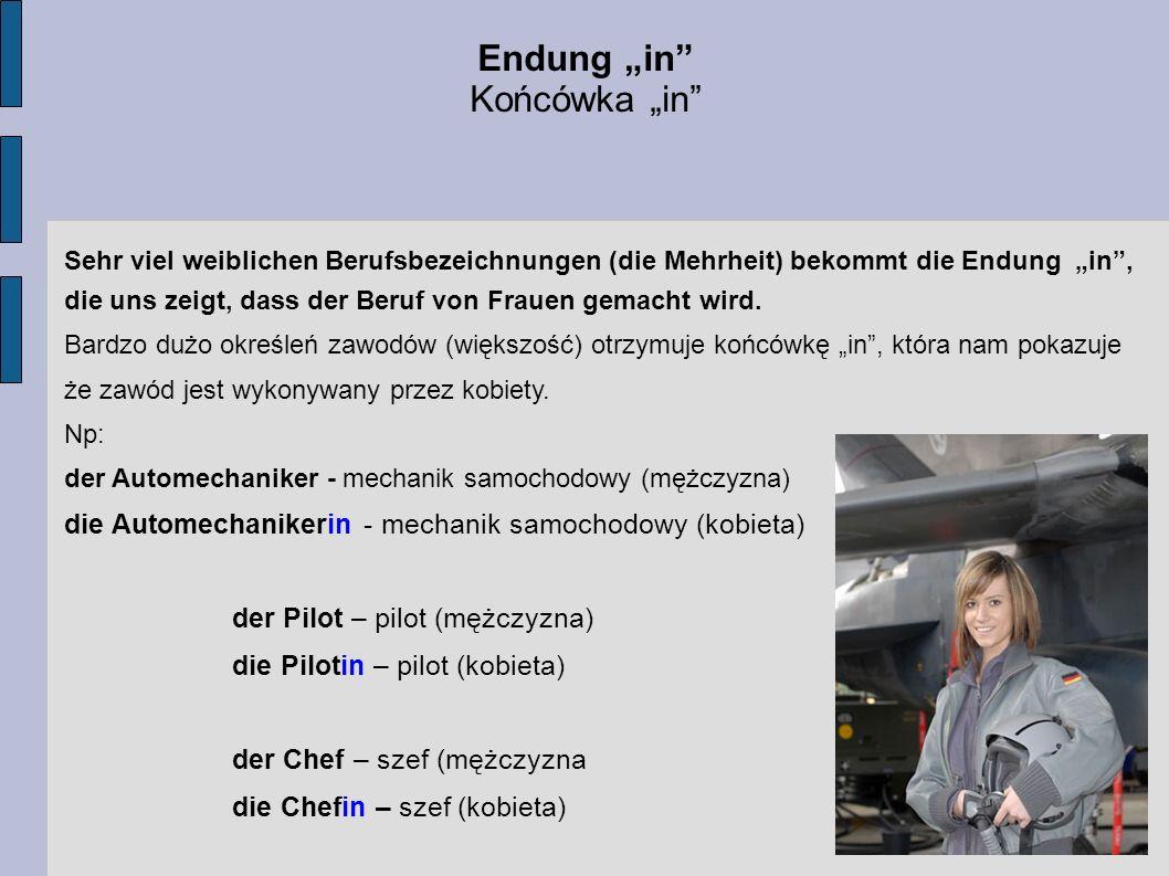 "Endung ""in Końcówka ""in"