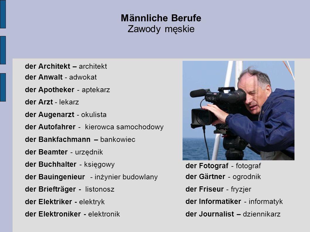 Männliche Berufe Zawody męskie der Architekt – architekt